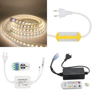 Светодиодные ленты 220В с регулируемой температурой света и аксессуары